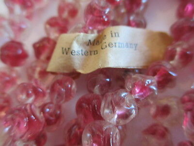 144pcs Vintage West German Berry & Crystal Pinched Glass Beads 7mm !!