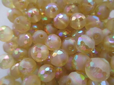 S312-50pcs Vintage West German Pastel Yellow Partially Faceted 10mm Glass Beads