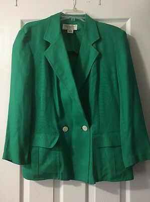 Vintage CHRISTIAN DIOR SEPARATES GREEN Rayon Blazer jacket Size 10 GREAT COND