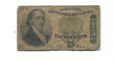 1860's U.S. Fractional Currency Note  50 Cents  Gorgeous 4th Fourth Issue Note