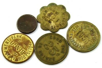 Vintage/Antique Brass/Bronze Good For 25c Trade Tokens Variety Lot