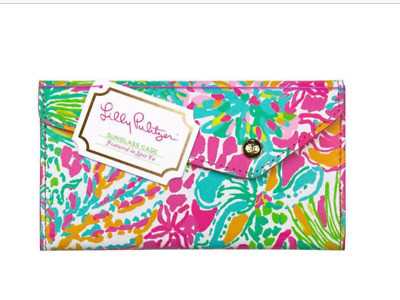 Lilly Pulitzer Sunglass Glasses Case Spot Ya Pink Gold Lining Sunny Somewhere