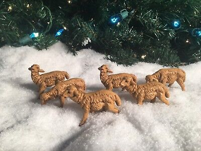 Lot Of 6 Fontanini Sheep Lamb Figures 3 Different Sets Of 2