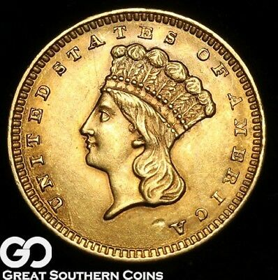 1858 Gold Dollar, $1 Indian Princess, Type 3, Gorgeous Gem BU++, Free Shipping!