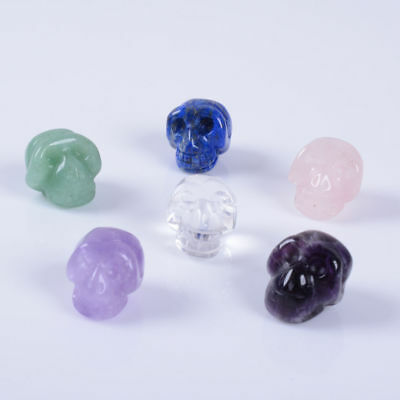 """Side drilled 15mm Hand carved natural gemstone small skull pendant bead 0.6"""""""