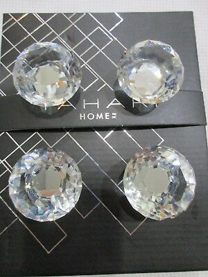 Tahari Home Faceted Round Crystal Drawer Knob Set Cabinet Door Pull Set Of 4