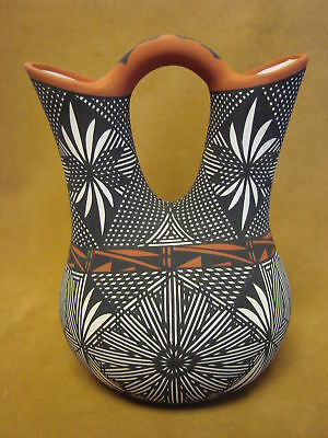 Native American Acoma Indian Pottery Hand Painted Wedding Vase By