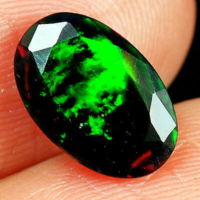1CT Natural Ethiopian Black Opal Faceted Cut Play Of Color QOPT3036