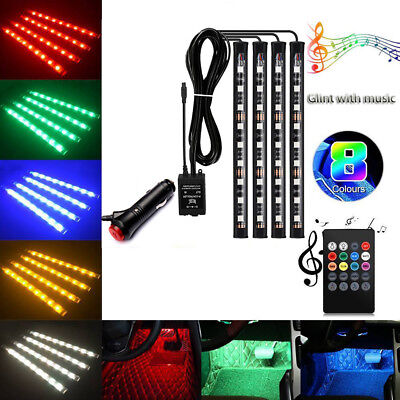 4pc 9LED Music Remote Control RGB Car Interior Atmosphere Light  Strip Flexible