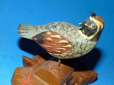 very old  Folk Art Carved  and  handpainted  little  adorable  Bird