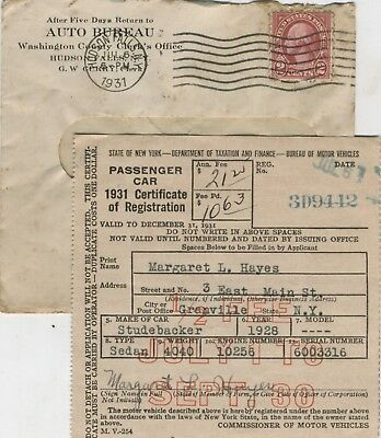 Original NY State Auto Registration for 1928 Studebaker Car issued 1931 n Mailer