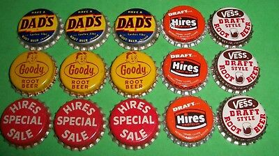 (12) 4 Diff Unused NOS Hires/Goody/Vess Root Beer Cork Lined Soda Bottle Caps