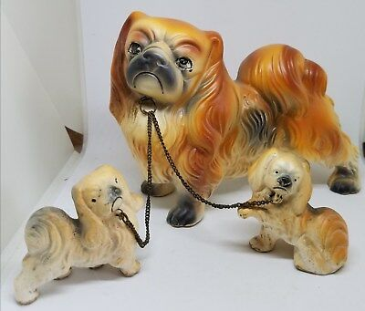 Vintage Estate Cavalier King Charles Spaniel Dogs Chain Figurines ~ Set of 3