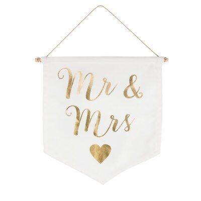 Sass and Belle Mr and Mrs White Flag with Gold Wording