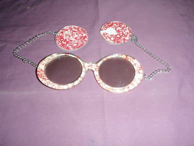 Vtg Mod Sunglasses/with Earrings on Chain 1970's?Red & White-Spatter