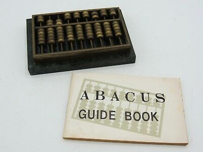 Vintage Miniature Brass Abacus with Green Marble Base Guide Book