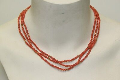 Necklace Chain Multiple-Row Coral Oeirignal Vintage Fine 1950er 50s Gold Plated