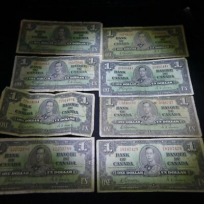 Lot of 8 - 1937 Canada. ($1) One Dollar Notes Circulated Condition