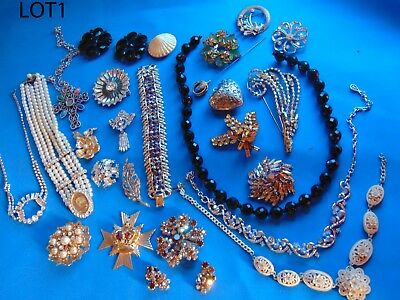 Lot  Of  Antique  Vintage  Costume  Jewels  For  Repair  /pieces  N1