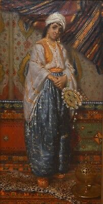 Fine Antique Late 19th Century Harem Lady Oil On Canvas Painting