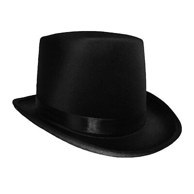 f0253d2784e3a Black Satin Top Hat Magician Gentleman Adult 20 s Costume Tuxedo Victorian  Slash