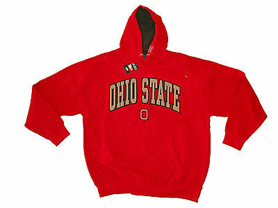 Ohio State Buckeyes Adult Red/Black Embroidered Contrast Hooded Sweatshirt Nwt*