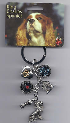 KING CHARLES SPANIEL Dog 6 Charm Best In Show Keychain