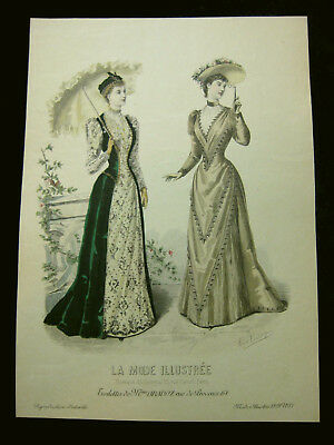 Mode Damenmode Ladies `Fashion No 3, franz Farblithographie datiert 1891