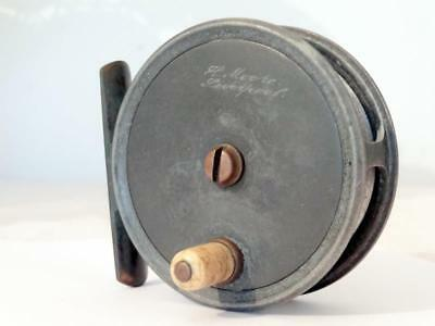 "Antique FLY FISHING REEL REUBEN HEATON for H MOORE LIVERPOOL 3"" ALUMINIUM FWO"