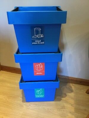 Storage / Recycling Box Set with Stacking Frame Medium Size , 3 PACK