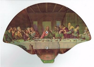 Circa 1940 Advertising Fan HARRY'S TAXI SERVICE Owego NY DaVinci's Last Supper