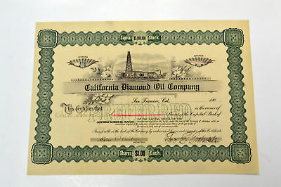 California Diamond Oil Co. 190x. 100 Shares Stock Certificate Issued Uncancelled