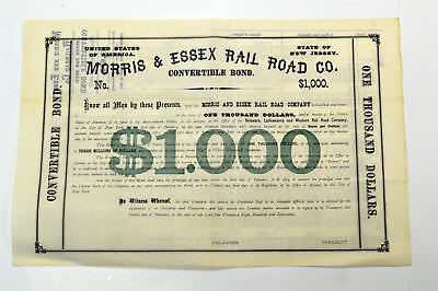 Morris & Essex Rail Road Co. 1869. NJ. $1000 Coupon Bond. Remainder Large Format