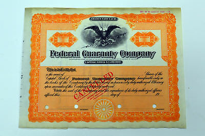 Federal Guaranty Co. DC. Odd Shares Stock Certificate Specimen. SBNC. VF.