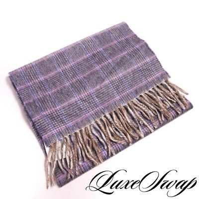NWT Begg Made in Scotland 100% Cashmere Flannel Purple Multi Plaid Scarf NR A1P