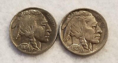 1919-P & 1923-P Buffalo Nickels (Indian Heads) - Lot of 2 - XF+
