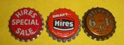(3) Diff Unused NOS Hires 6 For 1/Special/Draft Root Beer Cork Soda Bottle Caps