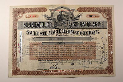 Minneapolis, St. Paul & Sault Ste. Marie Railway Co., 1931 20 Stock Certificate