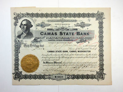 Camas State Bank, 1912 Issued Stock Certificate