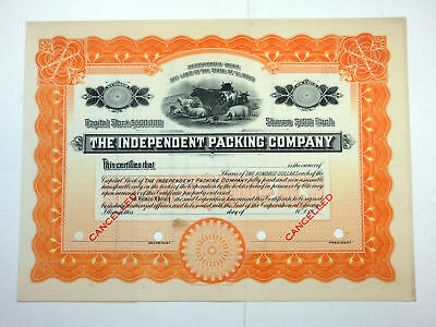 IL. Independent Packing Co., ca.1920-1930 Specimen Stock Certificate VF SBN