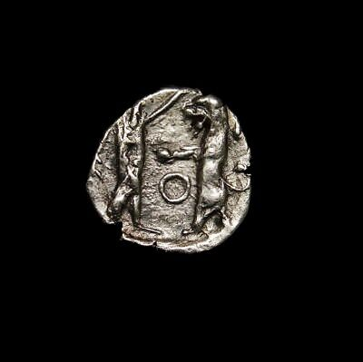 The Battle of Century. Persian King Boxing a Lion. Round 1. Scarce Greek Coin.