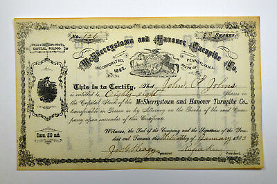 McSherrystown and Hanover Turnpike Co., 1883 Issued Stock Certificate