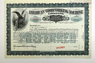 American Wood Working Machine Co., ca.1880-1890 Specimen Stock Certificate ABN