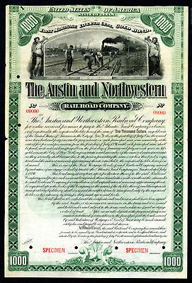Texas. Austin & NW Rail Road Co. 1891 SPECIMEN Bond Fine Cut close top VF ABN