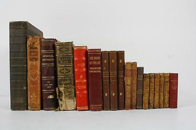 17 Book Lot Antique Leather Decorative Spine Books Shelf Display Home Staging
