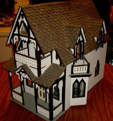 Vintage Victorian Dollhouse Wooden Doll House W Old Furniture