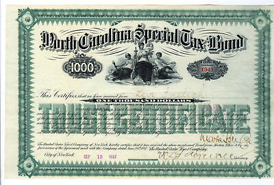 North Carolina Special Tax Bond, 1887 Issued Bond $1000, I/U HLBN