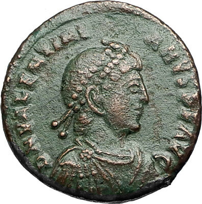 VALENTINIAN II w Labarum and Captive Authentic Ancient 383AD Roman Coin i67591