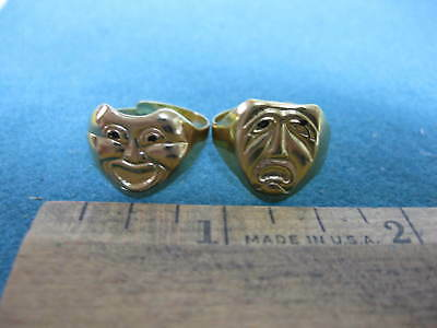 Vintage 1970's, Set of two Theater Masks Rings from the old bubblegum machines