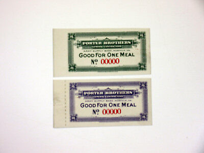 Porter Brothers General Contractors SPECIMEN Army Meal Coupon Pair Norfolk VA